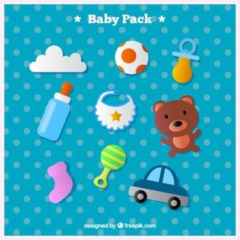 Vários brinquedos e acessórios para bebé