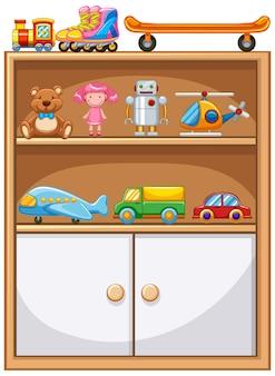 Vários brinquedos em prateleiras com armário