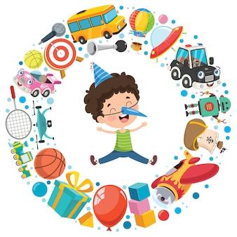 Vários brinquedos engraçados para crianças