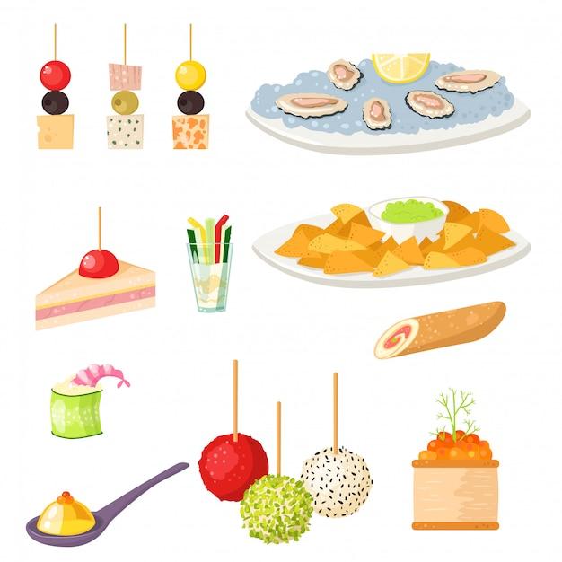 Vários canapés de carne lanches aperitivo peixe e queijo banquetes petiscos na ilustração de bandeja.