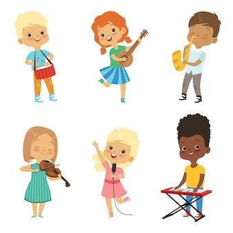 Vários, caricatura, crianças, músicos