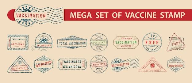 Vários carimbos de vacinação em formato com resultados positivos e negativos