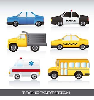 Vários carros com ilustração em vetor fundo sombra