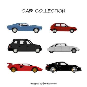 Vários carros fantásticos em design plano