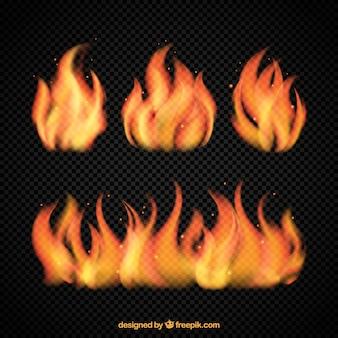Vários chamas brilhantes de fogo