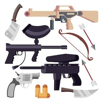 Vários conjunto de armas