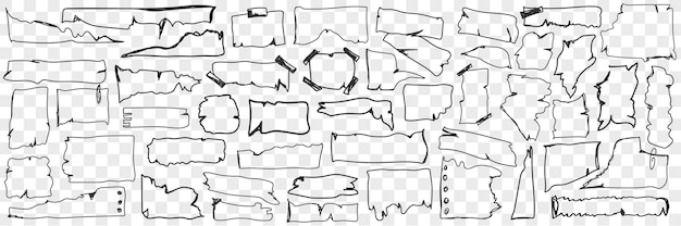 Vários conjunto de doodle de papel pergaminho. coleção de papel pergaminho desenhado à mão com bordas rasgadas de várias formas cortadas em pedaços isolados.