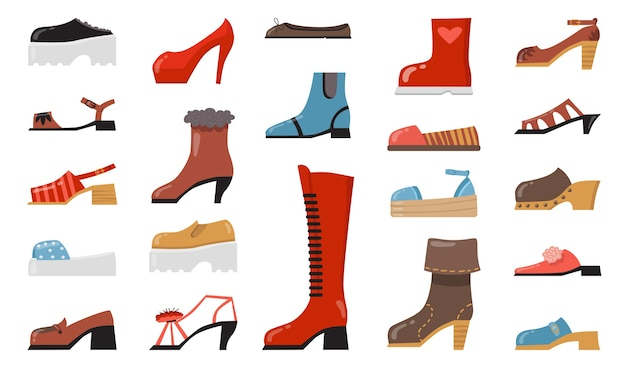 Vários conjunto de ícones plana de calçados na moda. desenhos animados elegantes elegantes e sapatos casuais, botas sazonais, coleção de ilustração vetorial isolado de sandálias de verão.