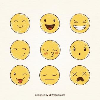 Vários desenhado à mão smileys engraçado