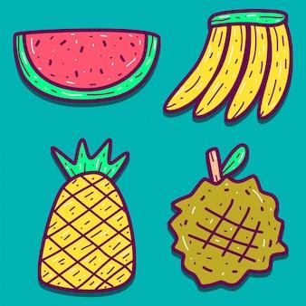 Vários desenhos de desenhos animados de frutas doodle