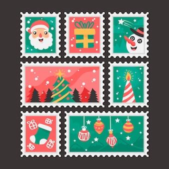 Vários design para selos de natal de design plano