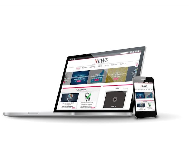 Vários dispositivos com site de notícias de negócios na internet