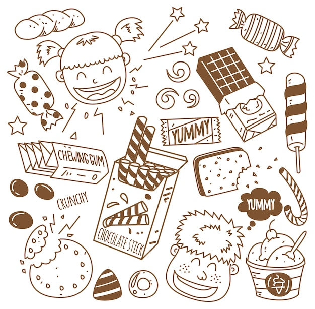 Vários doces com crianças felizes em estilo doodle