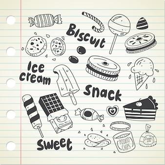 Vários doces em estilo doodle