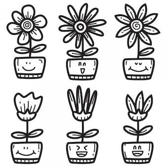 Vários doodle bonito s para flores