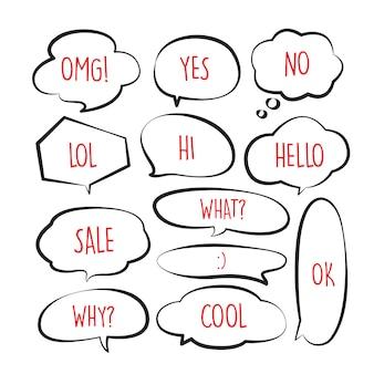 Vários doodle de bolha do discurso bonito