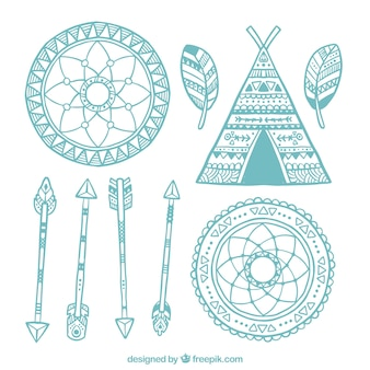 Vários elementos boho desenhadas mão