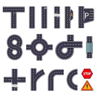 Vários elementos da estrada em arranjo