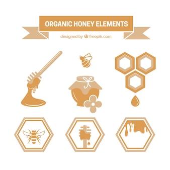 Vários elementos de mel orgânico