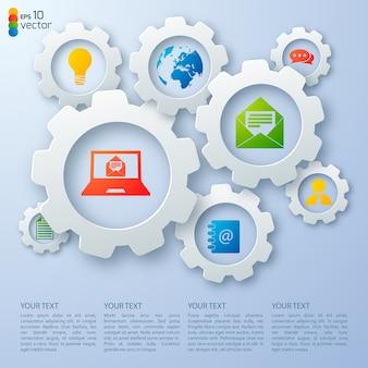 Vários elementos de negócios e campos de texto planos