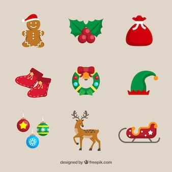 Vários elementos decorativos de natal