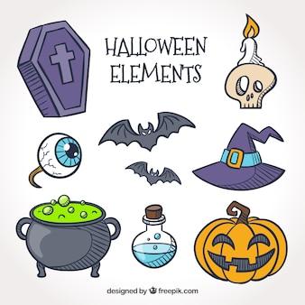 Vários elementos desenhados mão de halloween