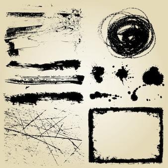 Vários elementos detalhados do grunge