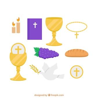Vários elementos tradicionais de primeira comunhão