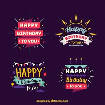 Vários emblemas coloridos para aniversários