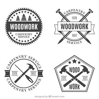Vários emblemas da carpintaria do vintage