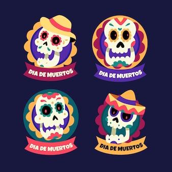 Vários emblemas de dia de muertos com caveiras florais