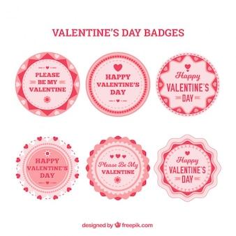 Vários emblemas redondo do valentim
