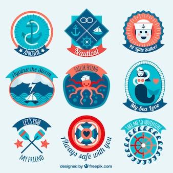 Vários emblemas salor coloridas agradáveis
