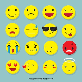 Vários emojis plana com expressões faciais fantásticas