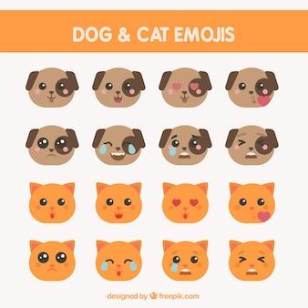 Vários emoticons de cães e gatos em design plano