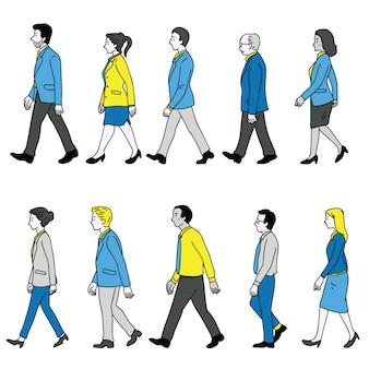 Vários empresários andando