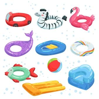 Vários equipamentos de borracha para parque aquático. brinquedos infláveis