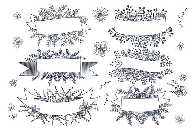 Vários estilos de molduras de flores