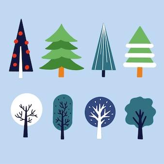 Vários estilos exclusivos de ilustração de ativos de árvores