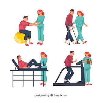 Vários exercícios de fisioterapia