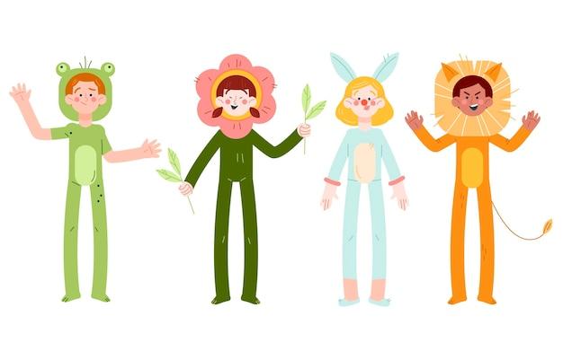 Vários fantasias de carnaval para coleção infantil
