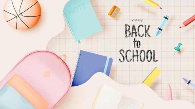 Vários fornecedores de artigos de papelaria e escolas para a volta às aulas em um estilo de arte 3d realista com ilustração vetorial em cores pastel