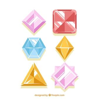 Vários gemas no desenho plano