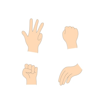 Vários gestos de mãos humanas isoladas em um fundo branco. conjunto de palmas mostrando vários gestos. palm apontando para algo. ilustração de mãos femininas e masculinas.