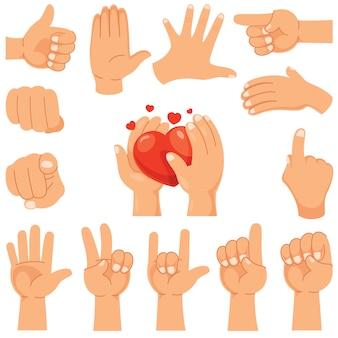 Vários gestos de mãos humanas