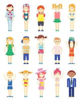 Vários gráficos de meninos e meninas sorridentes com vários recursos e estilos de vestido