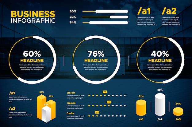 Vários gráficos e texto de infográfico de negócios