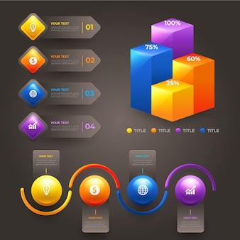 Vários gráficos estatísticos 3d infográficos brilhantes