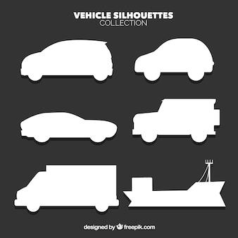 Vários ícones da silhueta de veículos