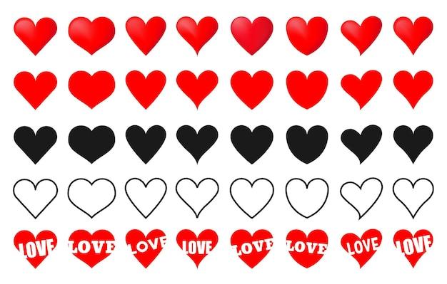 Vários ícones de amor de coração de vetor vermelho simples